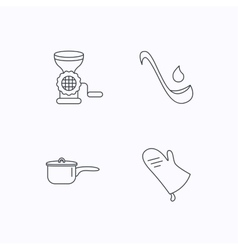 Soup ladle potholder and kitchen utensils icon vector