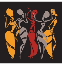 African dancers silhouette set vector image vector image