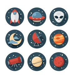 Astronomic round set of flat space icons vector