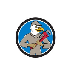 Bald eagle plumber monkey wrench circle cartoon vector