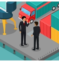 Business negotiations in the port concept vector