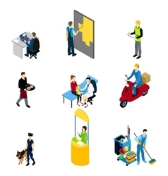 Characters professions isometric set vector