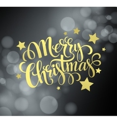 Christmas gold text design on bokeh background vector image