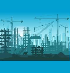Construction skyline under construction web site vector