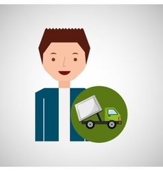 cute boy recycle ecology icon garbage truck vector image