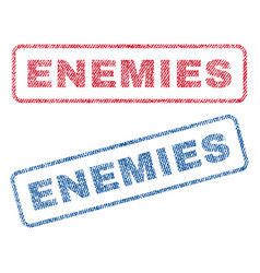 Enemies textile stamps vector