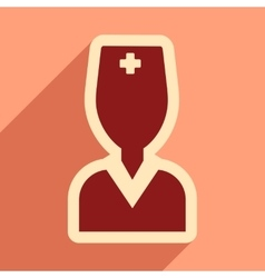 Flat icon with long shadow obstetrician doctor vector