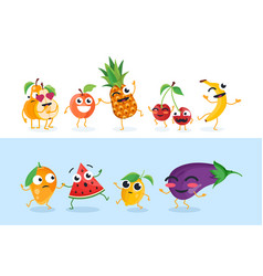 Funny fruit characters - set of isolated vector