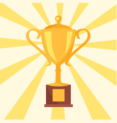 Golden cup prize icon isolated on background rays vector