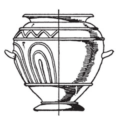 Grey clay urn has ornamentation in its relief vector