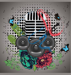 Grunge speaker and microphone vector