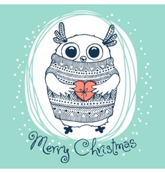 Hand drawn with cute eagle owl merry christmas vector