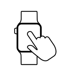 Hand tocuh smart watch wearable outline vector