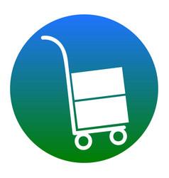Hand truck sign white icon in bluish vector