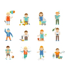 Kids playing set vector