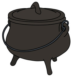 Old iron kettle vector
