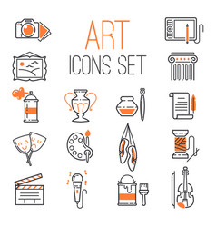 Outlined art icon set on white background modern vector