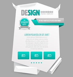 Paper origami poster template vector image vector image