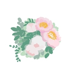 Romantic wedding bouquet of peonies and green vector image vector image