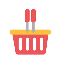 silhouette color with plastic shopping basket vector image vector image