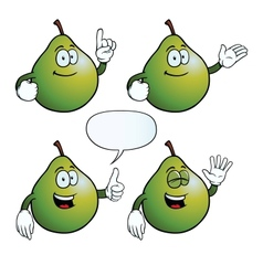 Smiling pear set vector image vector image