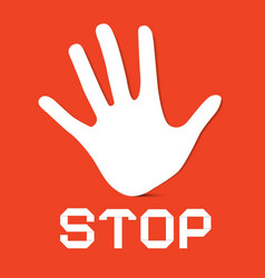 Stop Palm Hand on Red Background vector image vector image