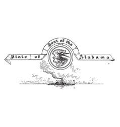 the united states seal of alabama vintage vector image vector image