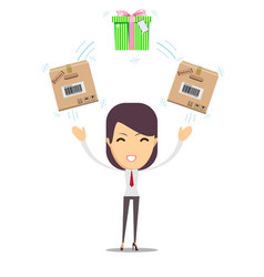 woman with cardboard box and gift box vector image