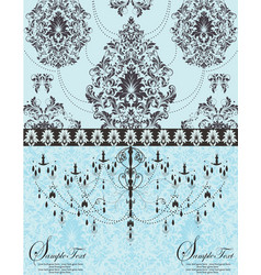 Blue vintage invitation floral card vector