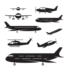 Plane Light Jet Objects silhouette Set vector image