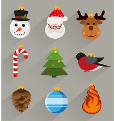 Flat style christmas decorations vector