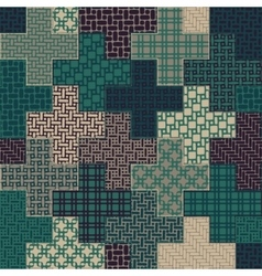 Seamless cross quilt patchwork pattern in vector