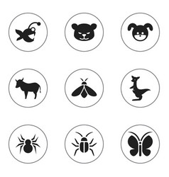 set of 9 editable animal icons includes symbols vector image