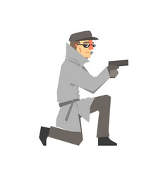 Detective character in a gray coat aiming a gun vector