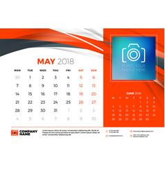 May 2018 desk calendar design template with vector