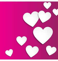 Happy valentines day simple paper hearts on pink vector