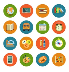 Flat education icons set vector