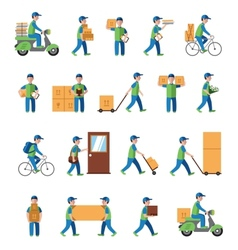 Courier delivery postman people Flat style vector image