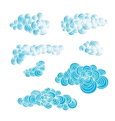 Set of decorative hand drawn color clouds vector