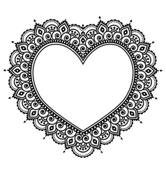 Heart mehndi design indian henna tattoo pattern vector