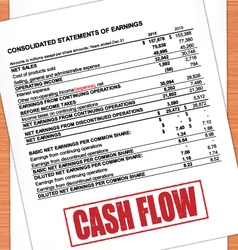 Cash flow rubber stamp text on statement vector