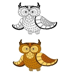 Cartoon owl with brown and yellow plumage vector