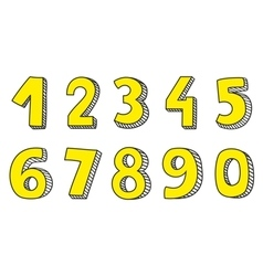 Hand drawn yellow numbers isolated on white vector