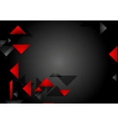 Dark red black tech geometric background vector image