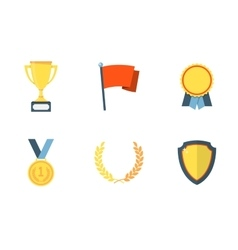 Trophy and awards flat icons vector