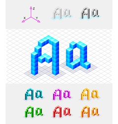 Isometric font from the cubes Letter A vector image