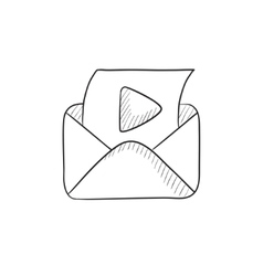 Envelope mail with play button sketch icon vector