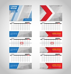 Wall trio calendar template isolated on gray vector