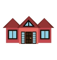 Red house and white window graphic vector