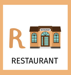 Alphabet card with restaurant building vector